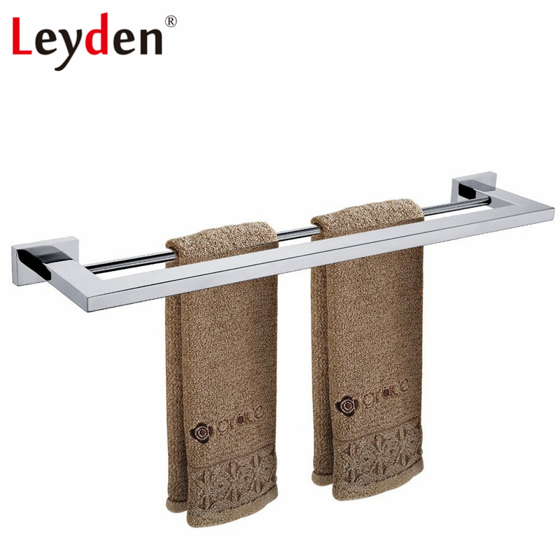 Leyden Towel Bar Stainless Steel Double Towel Rail for Bathroom Wall Mounted Chrome Square Towel Holder Bathroom Accessories stainless steel square towel ring chrome finishing flg8902