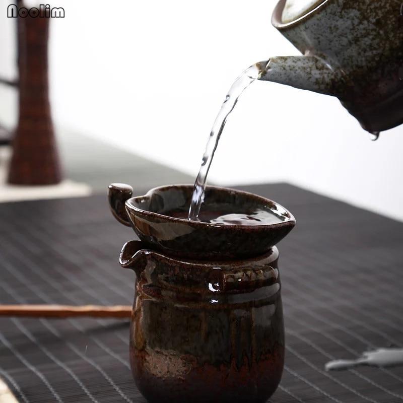 NOOLIM Kiln Retro Leaf Shape Tea Leak Tea Ceremony Kung Fu Tea Set Accessories Filter Ceramic Tea Strainers Home Decoration
