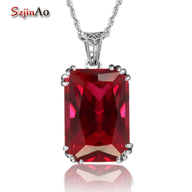 Szjinao Handmade Fashion Women Pendant Vintage Style Crown Red Ruby Jewelry 925 Sterling Silver Necklaces & Pendants ChokerSzjinao Handmade Fashion Women Pendant Vintage Style Crown Red Ruby Jewelry 925 Sterling Silver Necklaces & Pendants Choker