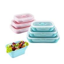 3 шт./компл. Силиконовый складной Bento коробка складной Портативный Коробки для обедов для Еда посуда контейнер для продуктов миска для детей и взрослых