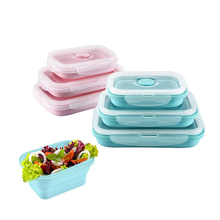 3Pcs/set Silicone Folding Bento Box Collapsible Portable Lunch for Food Dinnerware Container Bowl For Children Adult
