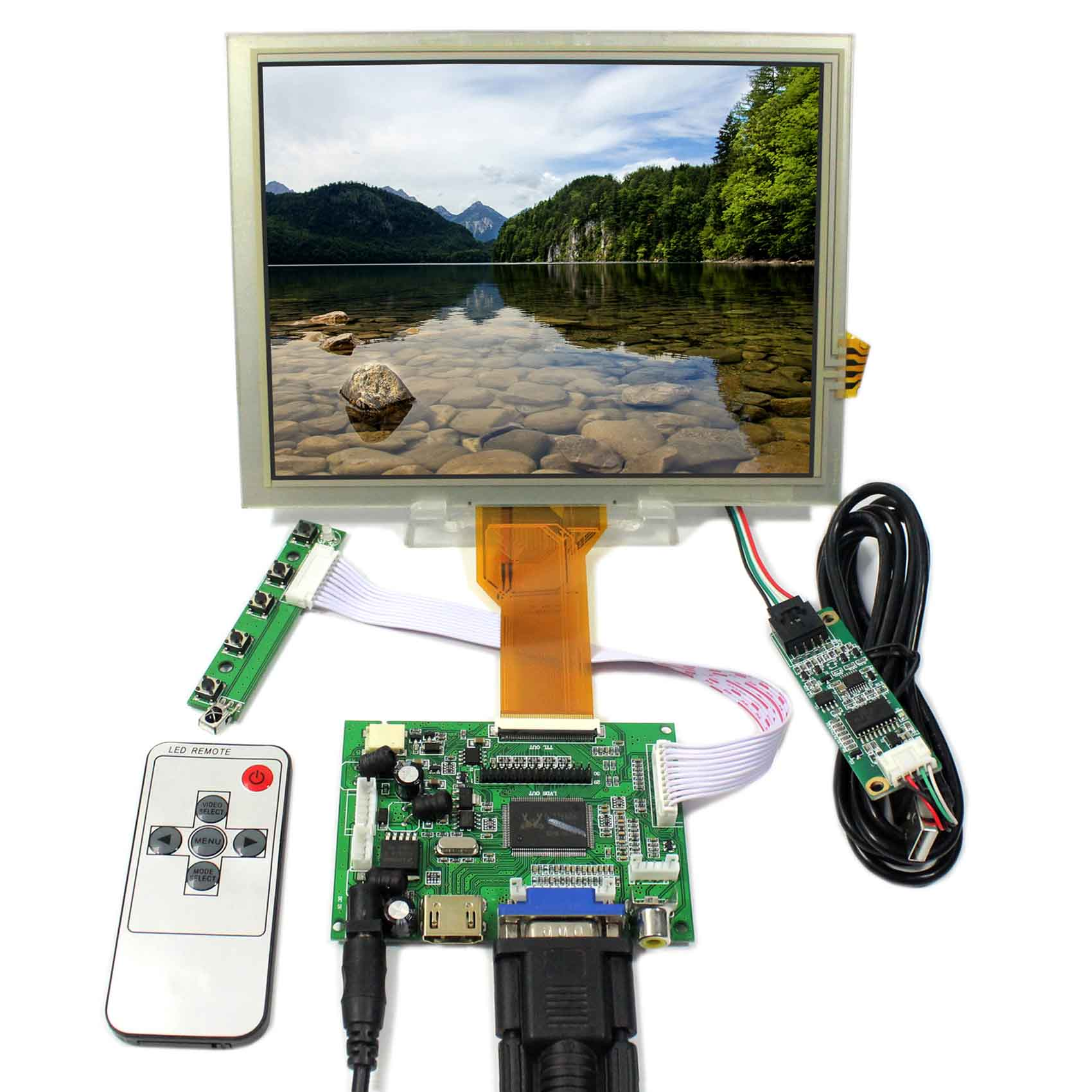 HDMI VGA 2AV LCD Controller Board+8inch EJ080NA-05B 800x600 LCD Screen With Touch Panel цена