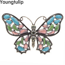 Young Tulip Lucky Beautiful Butterfly Brooches For Women Colorful Exquisite Badge Trendy Jewelry Ladies Dress Pin Accessory(China)