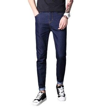 1a984929fb Izquierda ROM 2019 nueva moda Primavera Verano casuales de los hombres  Stretch Skinny Jeans Pantalones Slim fit apretados colores sólidos lápiz  28-38