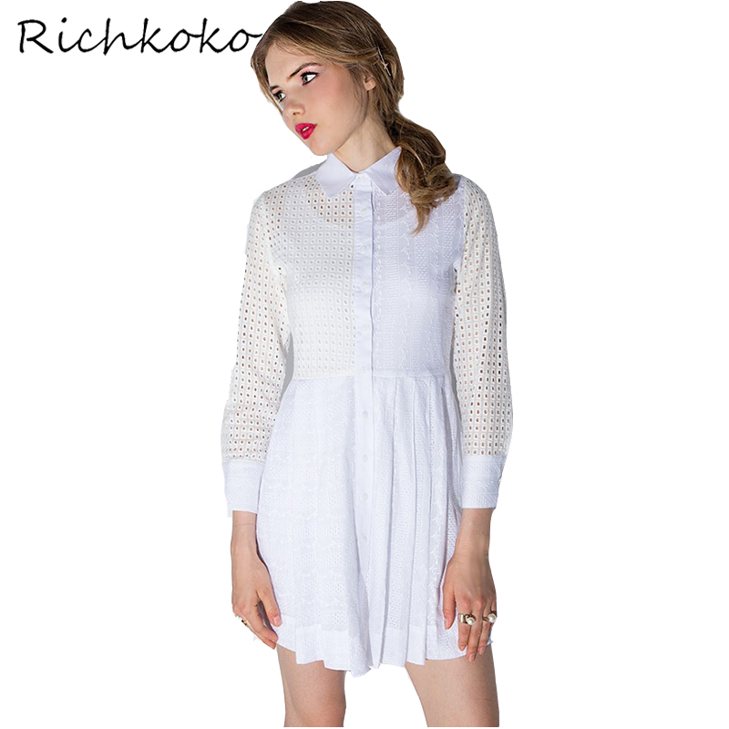 RichKoKo Apparel White Contrast Hollow Mini Dress Women Clothing Casual Cut Out Sweet Female Vestidos Mesh Drap Summer Dress
