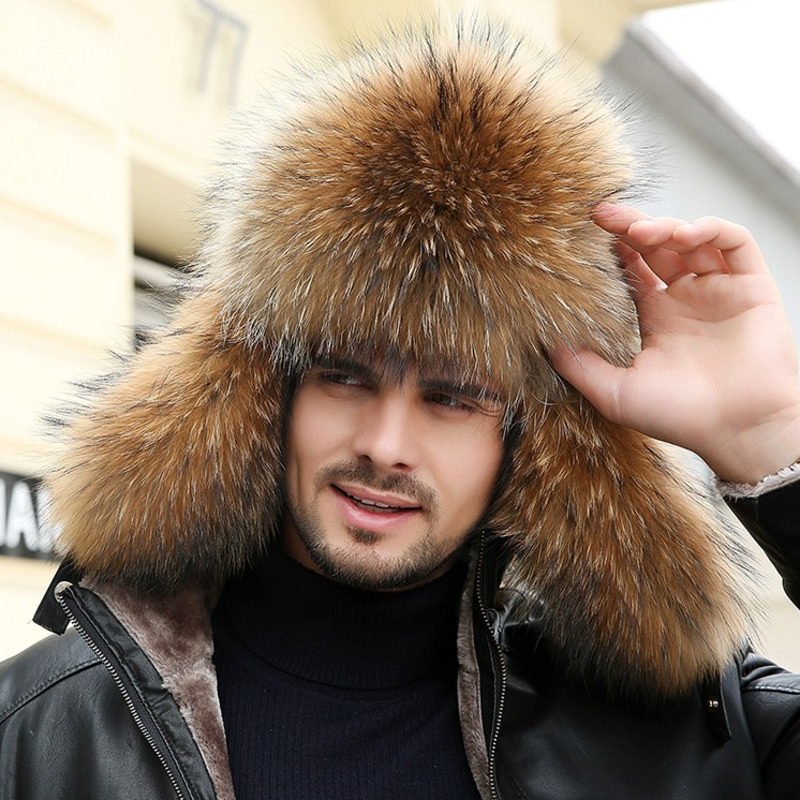 Bomber-Hats Earflap-Cap Russian Trapper Winter Men Fur Ear-Protectors Thickening Men's