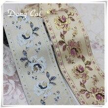 2yards/lot European style rose embroidered lace Filigree Trim Laciness decoration ethnic webbing curtain sofa sewing ribbon DIY цена