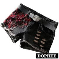 Black Low Waist Denim Shorts Women Spring Summer 2019 Hole Loose Embroidery Flower Jeans Shorts for Girls