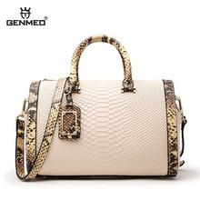 GENMEO Brand New Arrival Genuine Leather Handbags Women Luxury Shoulder Bag Serpentine Cowhide Leather Tote Bag Bolsa Feminina цена в Москве и Питере