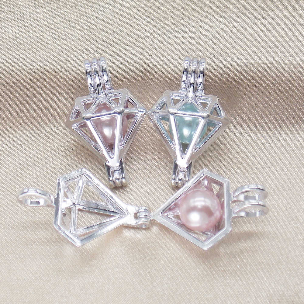 10pcs Bright Silver Rhinestone Shape Pearl Cage Diffuser Lockets Pendant for Aromatherapy Perfume Essential Oil Necklace Making