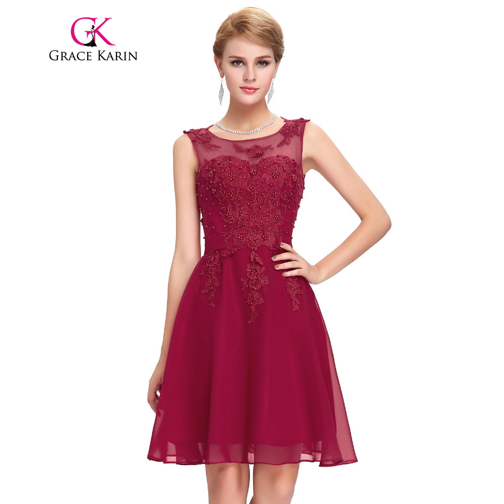 Grace Karin Bridesmaid Dresses Parti Pendek Vestidos tanpa lengan Appliques Beading Kneed Panjang Perkahwinan 2017 Gaun pengiring pengantin