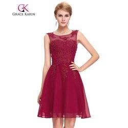 Grace karin bridesmaid dresses short party vestidos sleeveless appliques beading kneed length wedding 2017 bridesmaid dress.jpg 250x250