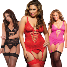 Ropa Lenceria Sexy Dessous Women Underwear Large Size Lace Babydoll Plus Size Sleepwear + G-string Womens Lingerie and Exotic
