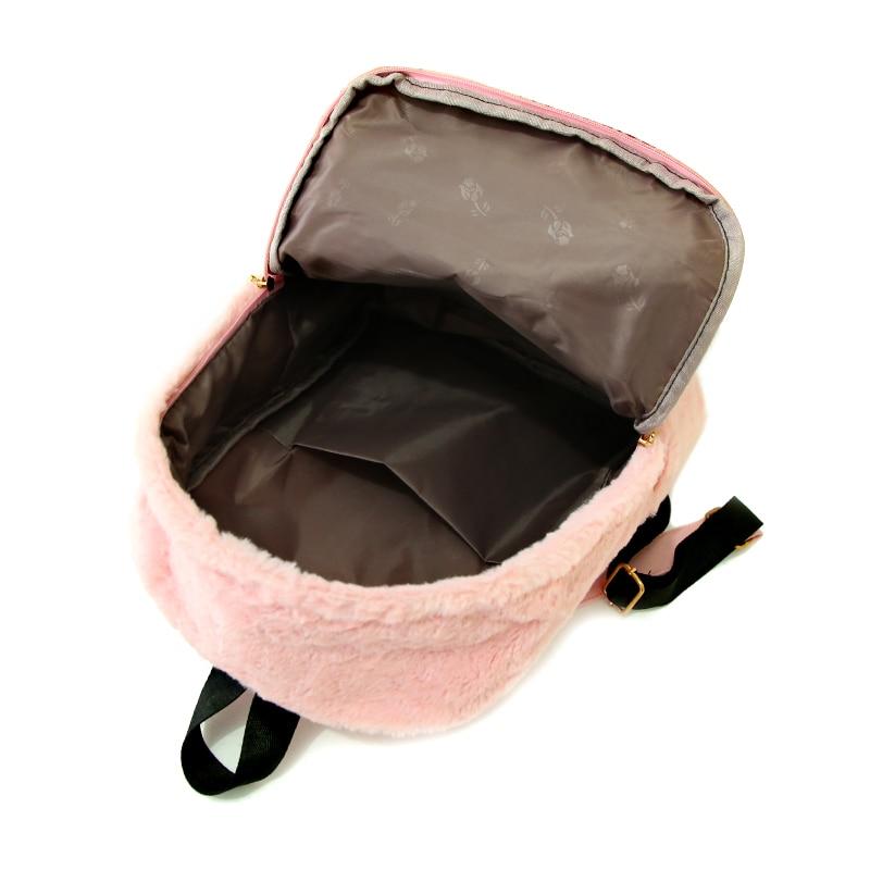 Moon Wood Faux Fur Rucksack - Pink, White or Black 4