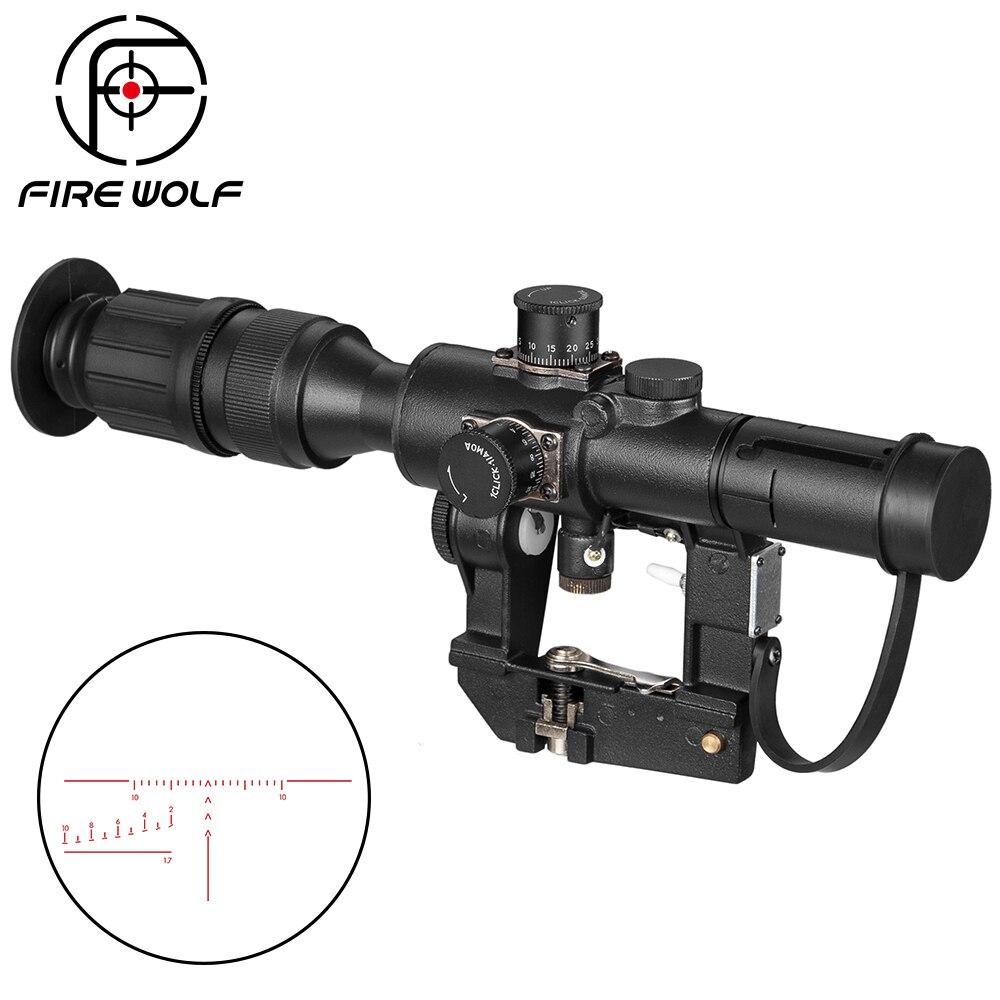 Tactique Svd Dragunov 4x26 rouge portée éclairée pour la chasse portée de fusil tir Ak portée point rouge optique de chasse Laser de chasse