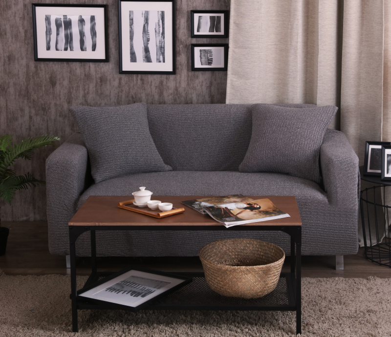 3/4 Seat Knitted Sofa Covers Slipcovers Solid Thicken
