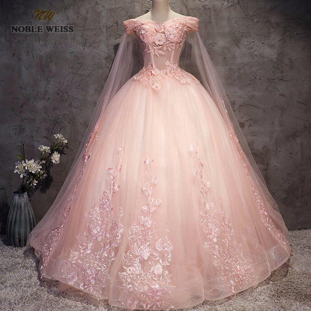 NOBLE WEISS robe de bal Quinceanera robes de haute qualité Appliques perles longueur plancher rose Tulle Sexy formelle robe de bal - 6
