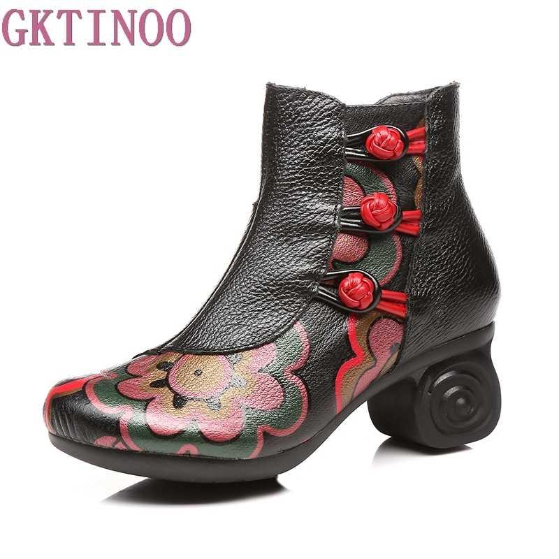 GKTINOO Ayakkabı Kadın Çizmeler Hakiki Deri Ayak Bileği Ayakkabı Vintage rahat ayakkabılar Yüksek Topuk Retro El Yapımı Bayan Botları Bayan