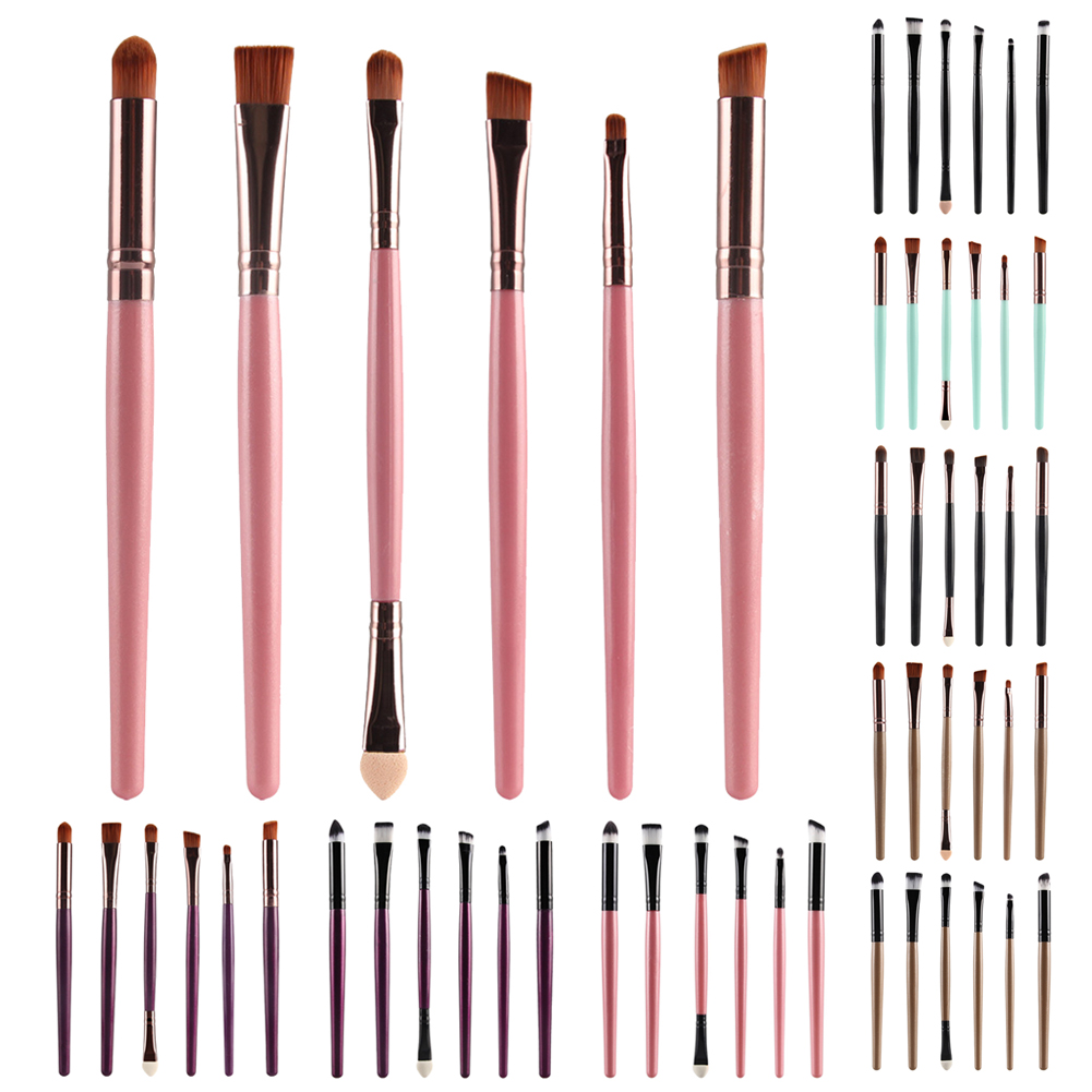 2017 New professional 6pcs Makup Powder Eye Brushes + 1pc Sponge Blender Blending Puff Eye Makeup Cosmetic Set bob cosmetic makeup powder w puff mirror ivory white 02