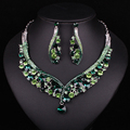 Fashion Indian Jewellery Green Crystal Necklace Earrings Bridal Jewelry Sets Wedding Accessories Decoration Christmas Gift Women