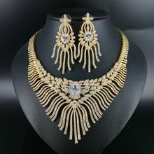 купить 2019 NEW Luxury fashion popular crystal flower golden necklace earrings set bride wedding formal dress banquet party jewelry set дешево