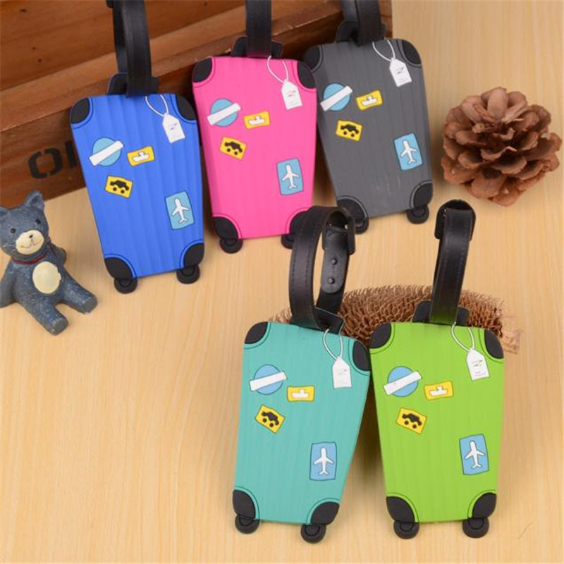 Hot sale 1pc New Suitcase Cartoon Luggage Tags design ID Tag Address Holder Identifier Label travel Accessories coneed charming nice new suitcase luggage tags id address holder silicone identifier label luggage tags travel access y20x