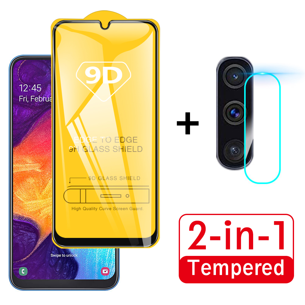 <font><b>2</b></font> in 1 9D Protective Glass For Samsung Galaxy A50 Camera Screen Protector Safety Film Lens Tempered Glass For Samsung A50 A <font><b>50</b></font> image