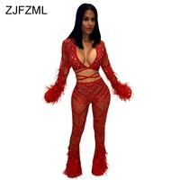 Sheer Mesh Lace Sequin Sexy Two Piece Set Women Deep V Neck Flare Sleeve Crop Top + See Through Bodycon Pants Feather Tracksuit
