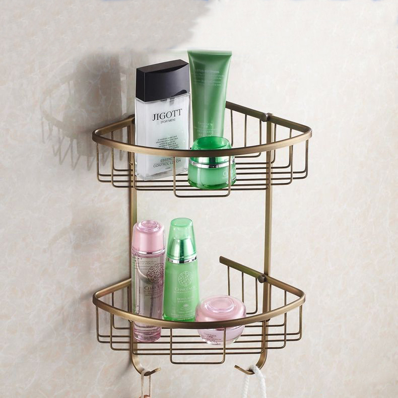 Bathroom Shelves Wall Mounted Antique Finish NEW Brass Bathroom Shower Shelf  Basket Holder Fashion Double Layer HJ-118F shampoo holder wall mounted strong brass made and chrome finish single tier bathroom shelf shelves bathroom basket fe 8623