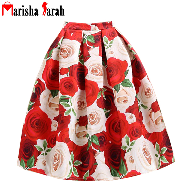 New 50s Princess Royal Vintage Retro Skirts Fantasy Hot Red Floral Print High Waist Midi Pleated Skirt Circle Saia Femininas