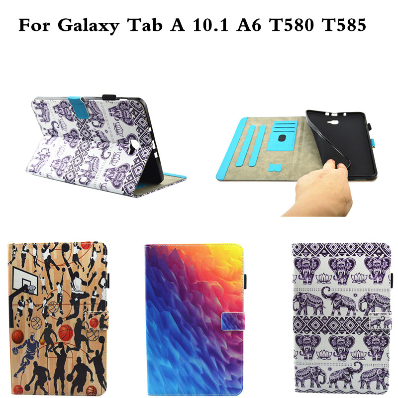 Fashion Cute Case For Samsung Galaxy Tab A a6 10.1 inch 2016 T580 T585 SM-T585 Cases Cover Print TPU+PU Leather Shell Funda fashion painted flip pu leather for samsung galaxy tab a 10 1 sm t580 t585 t580n 10 1 inch tablet smart case cover pen film