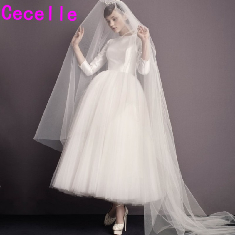 Wedding Gowns 2019 With Sleeves: Vintage Ankle Length Short Wedding Dresses 2019 With 3/4