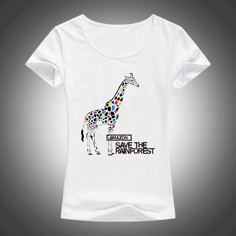 Legújabb 2017 Nyári Női T-ingek zsiráfok Nyomtatott T-shir divat Harajuku rövid ujjú pólók F83