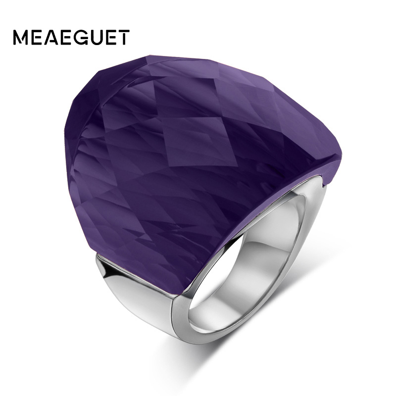 Meaeguet 31MM Personality Big Stone Rings For Women Party Jewelry 31mm Stone Stainless Steel Women Wedding Rings
