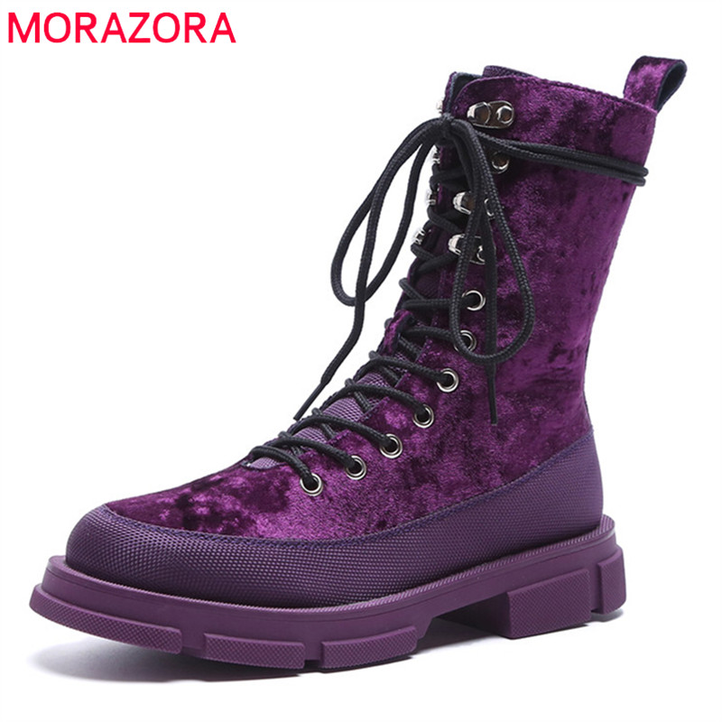 MORAZORA 2018 top quality ankle boots for women lace up round toe autumn  boots comfortable punk 4862d85f9814