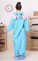 Free Shipping Adult Animal Romper Unisex Flannel Jumpsuit Onsie Fancy Dress Costume Blue Elephant Animal Onesie
