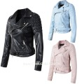 Brand Motorcycle PU Leather Jacket Women Slim PU Leather Jacket New Fashion Coat Black Blue Pink 3 Color Zipper Outerwear coat
