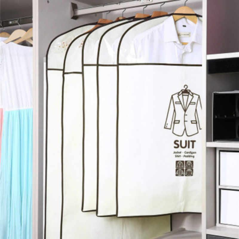 Dois tamanhos roupas capa de poeira não-tecido caso de tecido para uso doméstico pendurado-tipo casaco terno proteger armazenamento saco guarda-roupa organizador