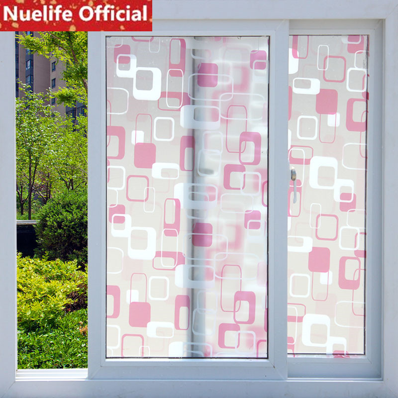 Straightforward 90x600cm Pink Geometric Pattern Frosted Glass Film Kitchen Office Bedroom Bathroom Living Room Opaque Self-sticking Window Film Big Clearance Sale Home & Garden Decorative Films