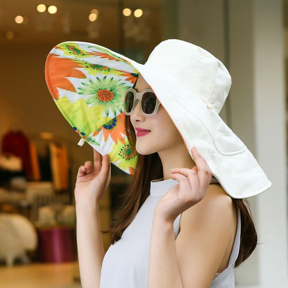 ffc93c41b29 2018 Summer large brim beach sun hats for women UV protection women caps hat  with big head foldable style fashion lady s sun hat-in Sun Hats from  Apparel ...