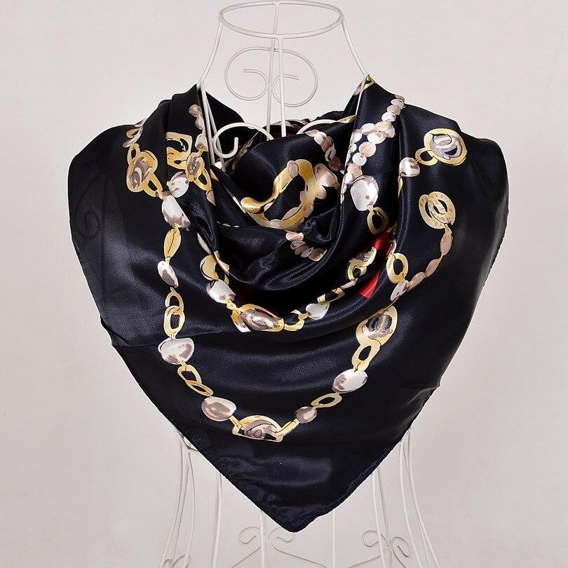 Дизайн женский Шелковый большой квадратный шелковый шарф из полиэстера, 90*90 см горячая Распродажа атласный шарф с принтом для весны, лета, осени, зимы - Цвет: black 555