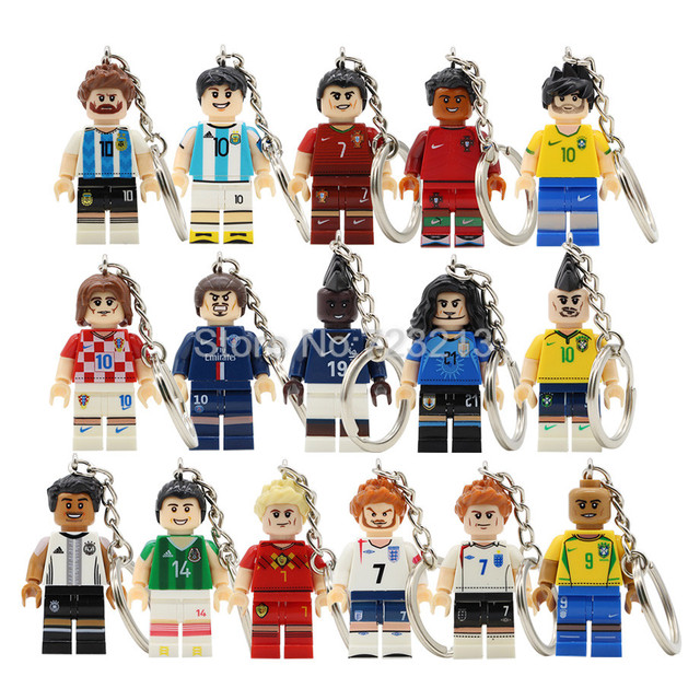 huge selection of b650a a52fd US $1.68 |Single Sale Football Player Figure Messi Keychain Ronaldo Neymar  JR Pogba Beckham Ozil Model Building Blocks kits Brick Toys-in Blocks from  ...