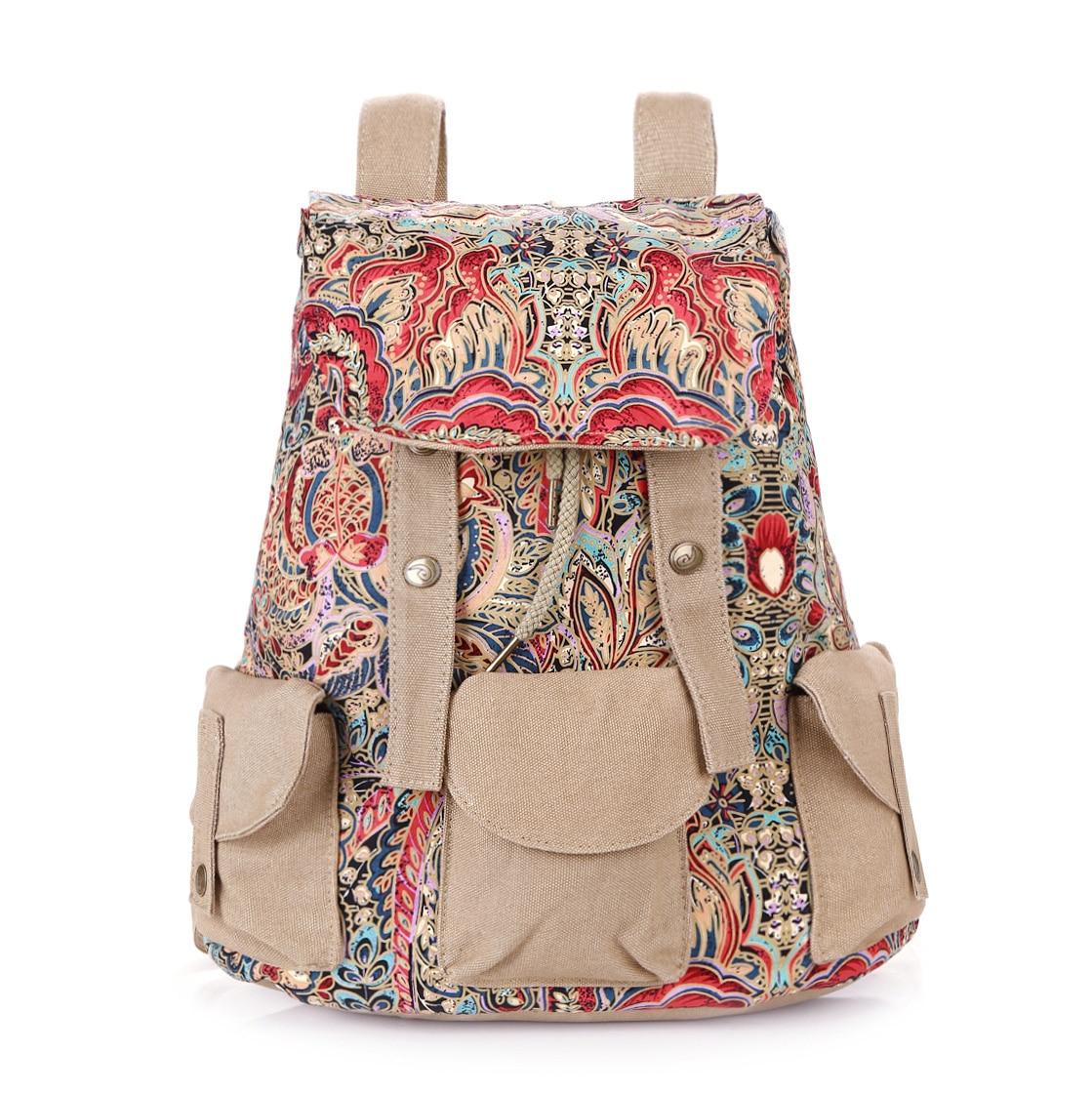 Mode rétro National femmes toile cordon sac à dos femmes imprimer sac Phoenix impression femme loisirs rétro sac à dos sacs à dos