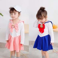 Japanese Anime Kid Baby Girls Sailor Moon Cosplay Bowknot Dress Kawaii Lolita Uniform Children Halloween Party