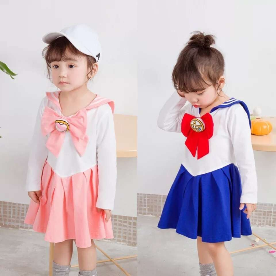 Japanese Anime Kid Baby Girls Sailor Moon Cosplay Bowknot Dress Kawaii Lolita Uniform Children Halloween Party Lovely Costume free shipping hot heat resistant party hair new wig silver white sailor moon tsukino usagi cosplay party wigs