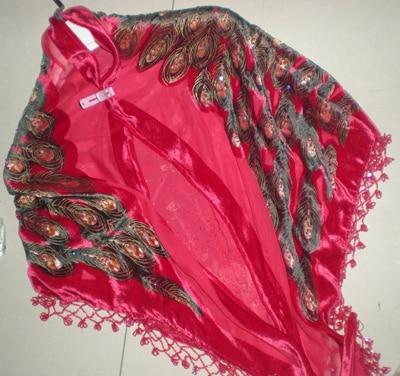 Triangle Beaded Peacock silk Velvet feeling 30% Nylon 70% rayon Burn Out Duster Opera Shawl   Scarf     Wrap   7pcs/lot #2181