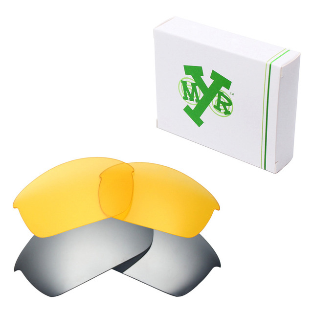 2 Pairs MRY Replacement Lenses for Oakley Flak Jacket Sunglasses Silver Titanium & HD Yellow