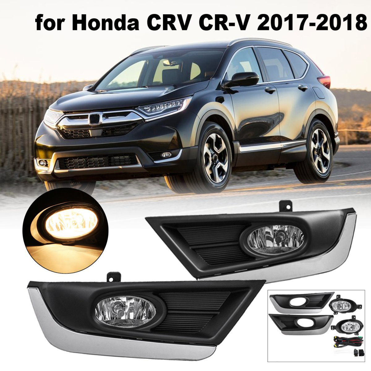 DC 12V 40A H11 Bulbs Pair ABS Bumper Fog Lights For Honda/CRV/CR V 2017 2018 Driving Lamps w/ Wiring Harness Front Left Right