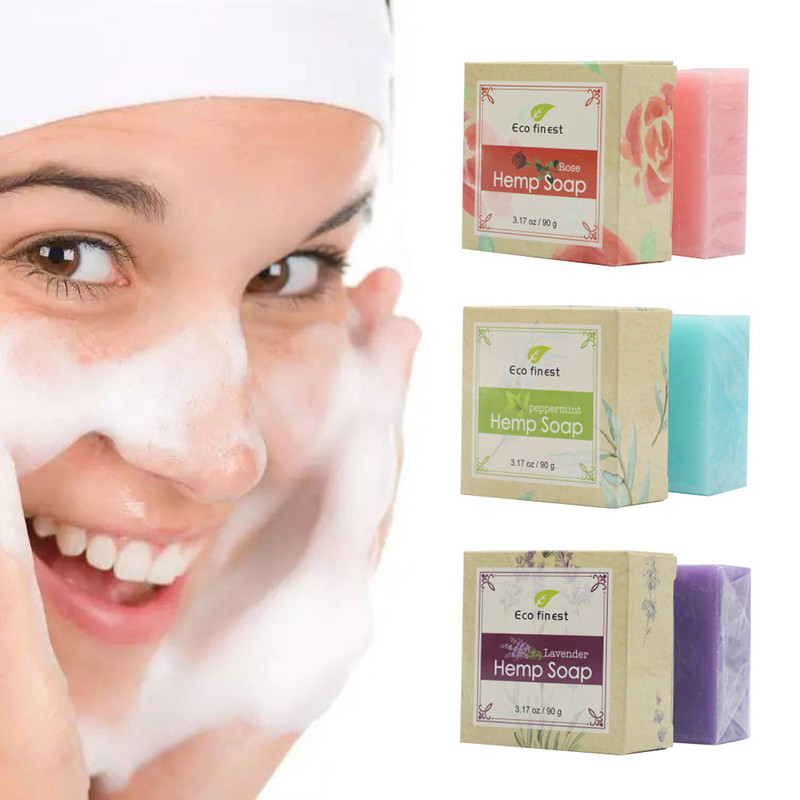 6 Pcs Handmade Hemp Oil Soap Skin Care Revitalizing Scent With Tea Tree Rose Lavender MH88