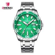 2018 роскошные модные мужские часы кварцевые Сталь Водонепроницаемый Diver Chenxi Лидирующий бренд Зеленый наручные часы для человека relogio masculino